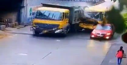 Speeding bus rams into dumper truck, 8 injured